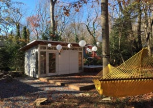 Prefab Studio Shed in a Forest with Hammock