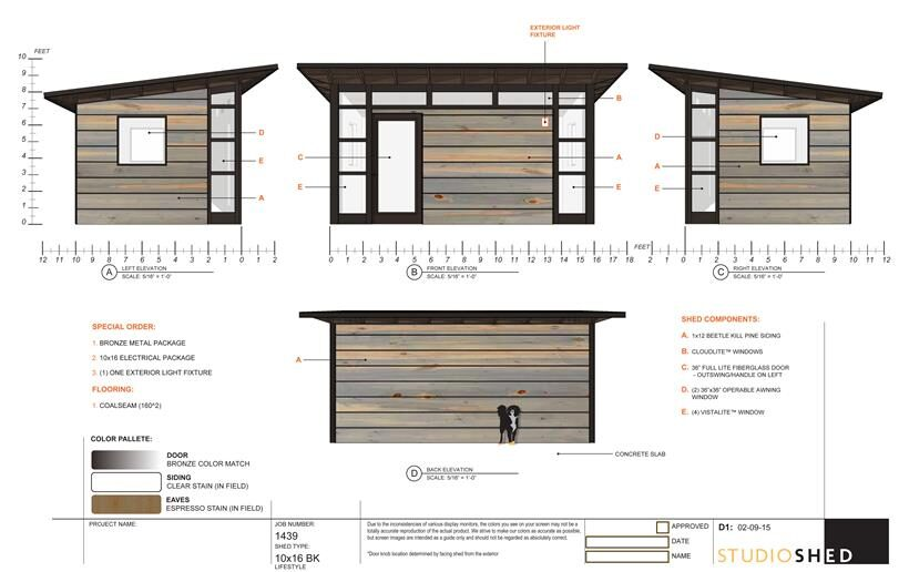 Rendering of Studio Shed with Colorado Beetle-Kill Pine Siding