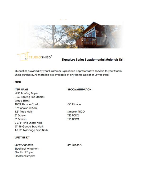 Studio Shed Materials List